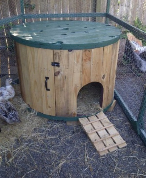Chicken Coop Made From a Large Wooden Cable Spool
