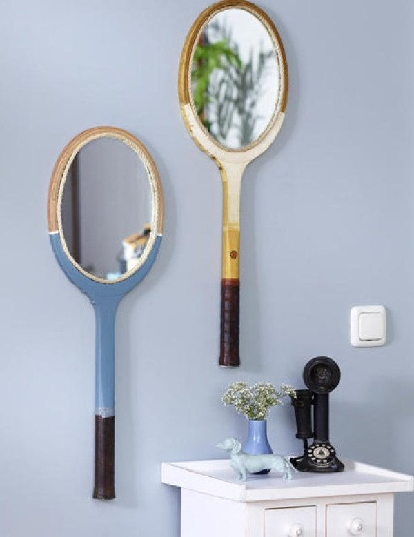 Sports Racket Transformed Into a Mirror