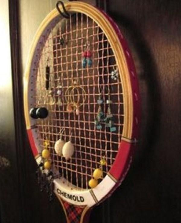 Sports Racket Transformed Into an Earring Hanger