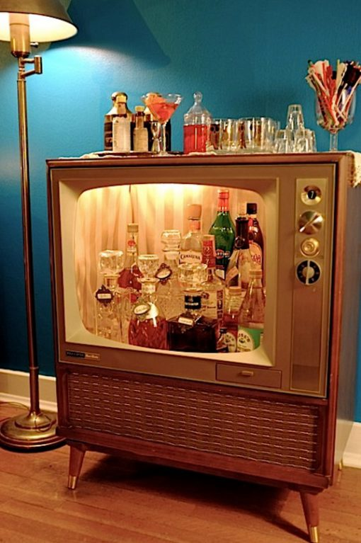 Old TV Turned Into a Drinks Cabinet