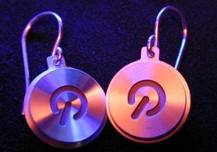 Power Buttons Recycled Into Earrings
