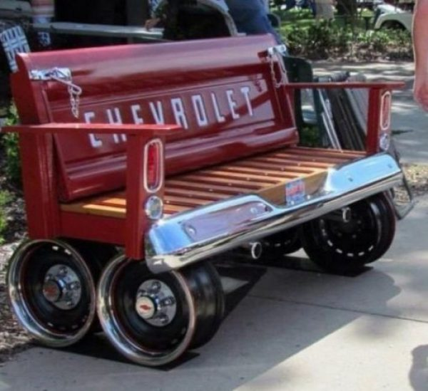 Car parts repurposed as a bench