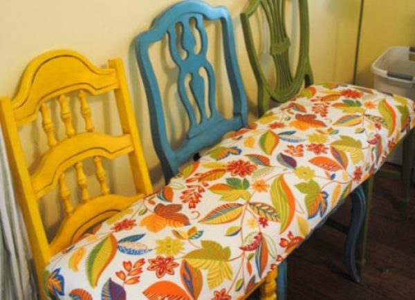 Dining Chairs repurposed as a bench