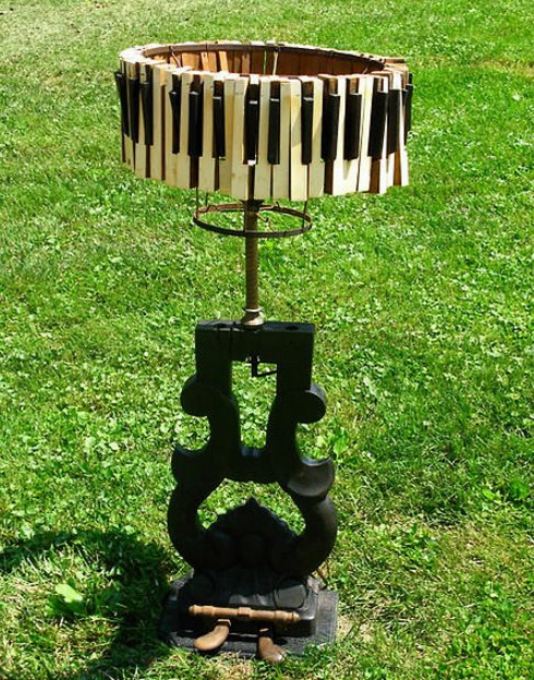 Piano Keys Used To Make Lamp Shade