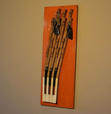 Piano Keys Used To Make Key Rack