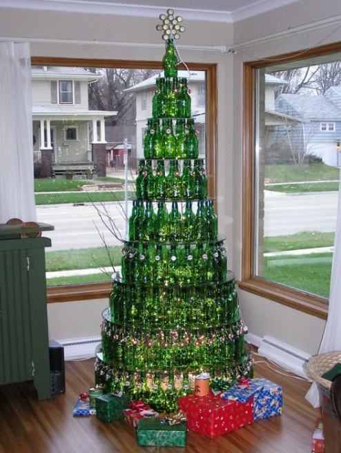 Christmas Tree Made From Recycled Beer Bottles