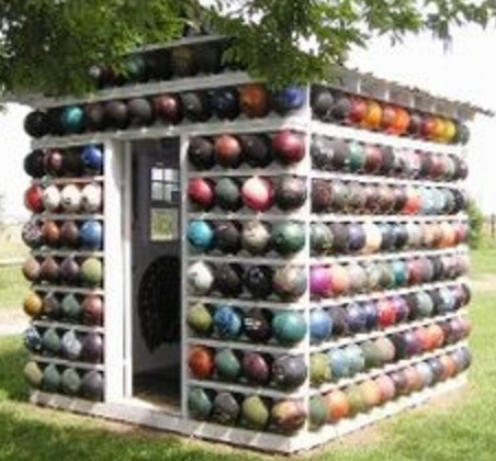 Bowling Balls Transformed Into a Garden Shed