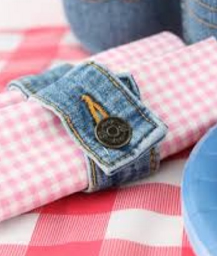 Jeans Recycled into Napkin Rings