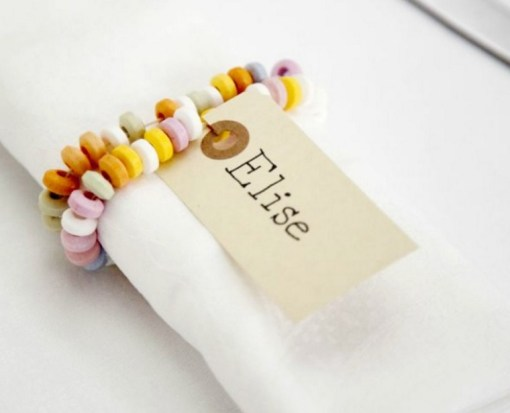 Candy Bracelet Turned into Napkin Rings