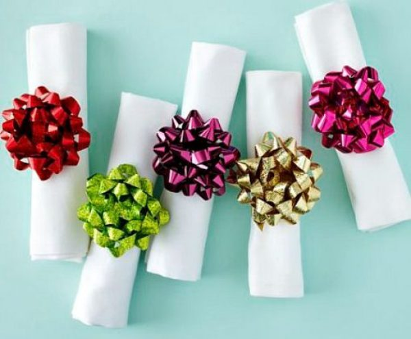 Gift Bows Turned into Napkin Rings