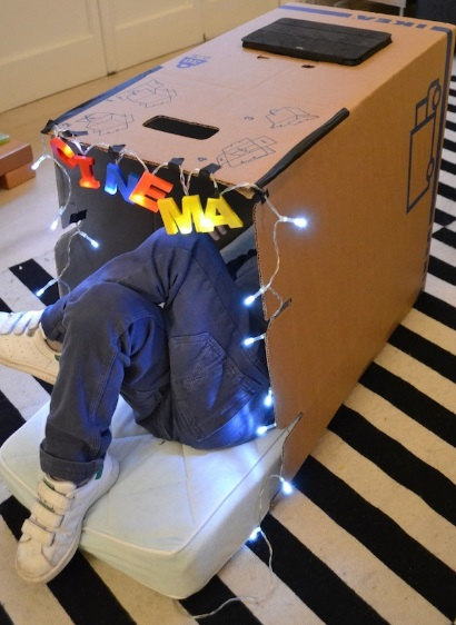 Cardboard Box Turned Into a Private Cinema