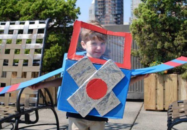 Cardboard Box Turned Into a Halloween Costume