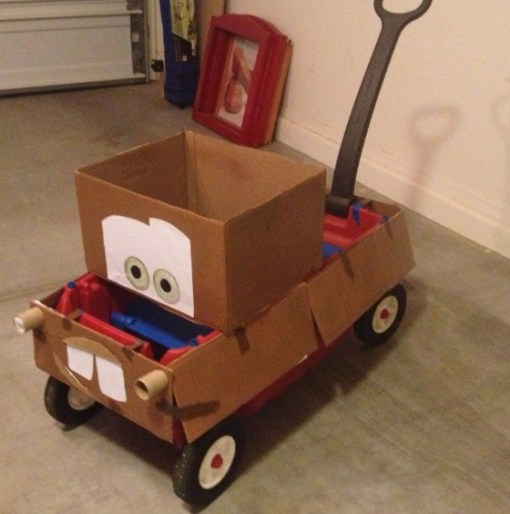 Cardboard Box Turned Into Mater from Cars