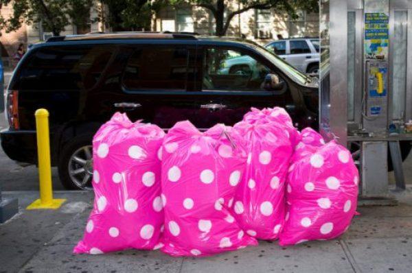 Pink Polka Dot Novelty Bin Bags