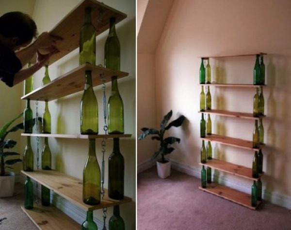 Display Shelves Made from a Champagne Bottle