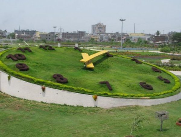The floral clock in Surat, India