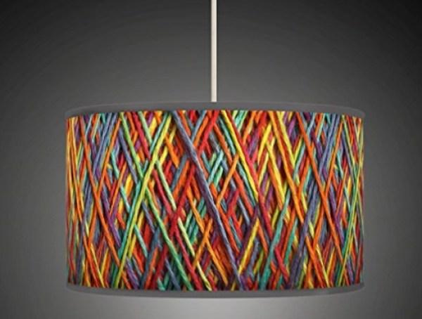 Multicoloured Woven Fabric Lamp Shade