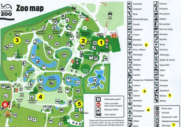Blackpool Zoo Map