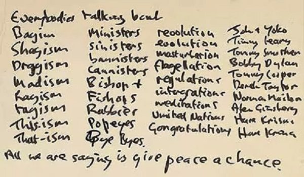 John Lennon's Hand-Written Lyrics To Give Peace a Chance