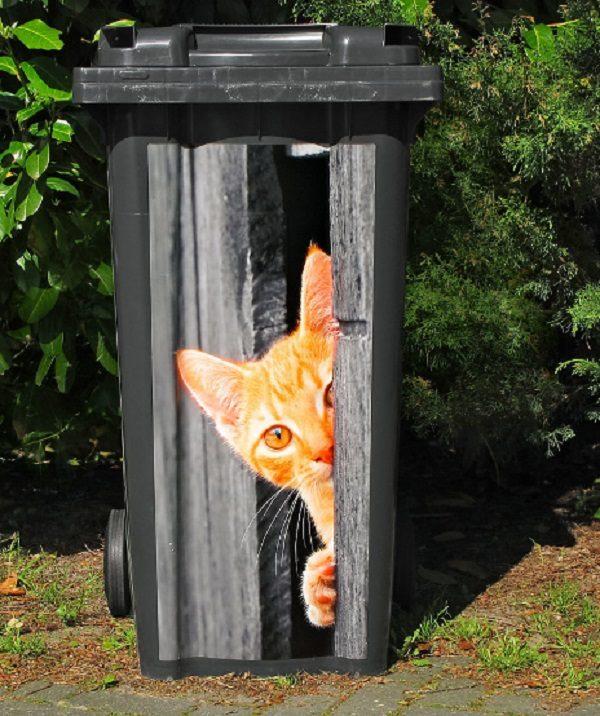 Peeking Cat Wheelie Bin Stickers