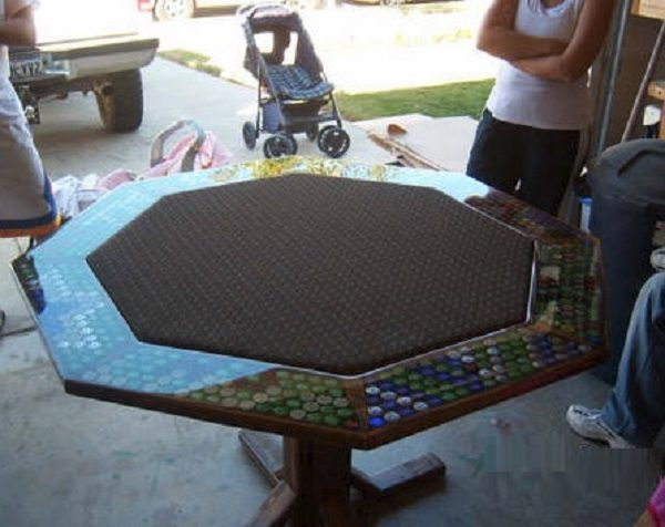 Casino Chips Used to Make a Table