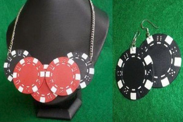 Casino Chips Used to Make a Necklace and Earrings Set