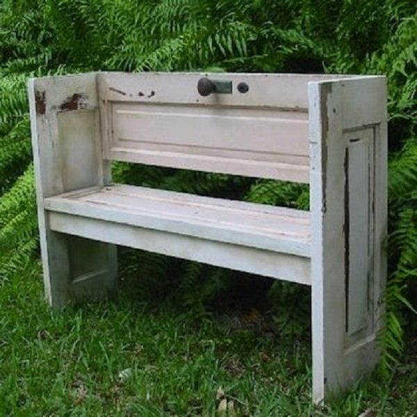 Old Door Turned Into a Garden Seat