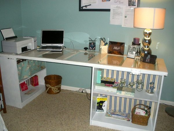 Old Doors Turned Into a Work Desk
