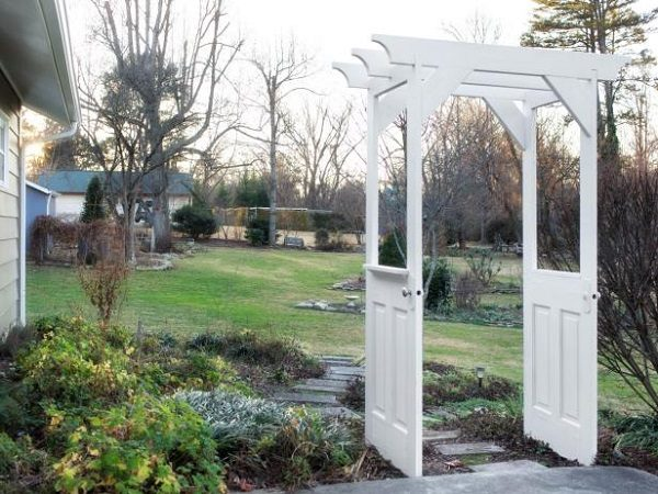 Old Doors Turned Into a Garden Arbor