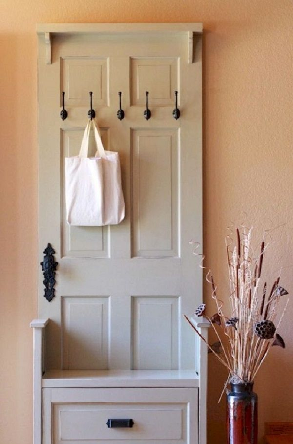 Old Doors Turned Into an Entry Storage/Coat Hanger