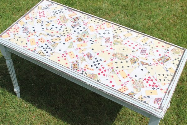 Old Playing Cards Used to Make a Table Top