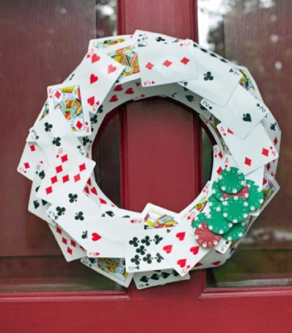 Old Playing Cards Used to Make a Wreath