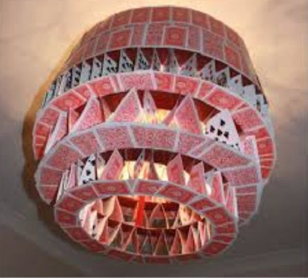 Old Playing Cards Used to Make a Chandelier
