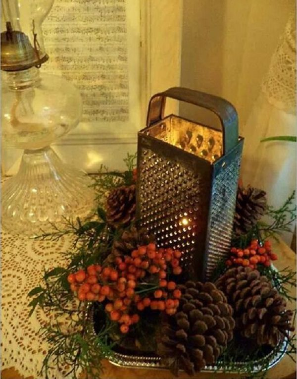 Cheese Grater Turned into a Candle Holder