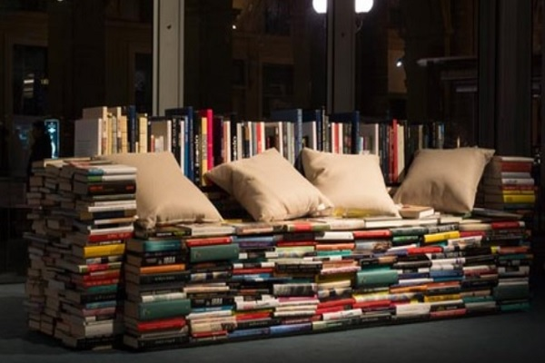 Sofa made from old books