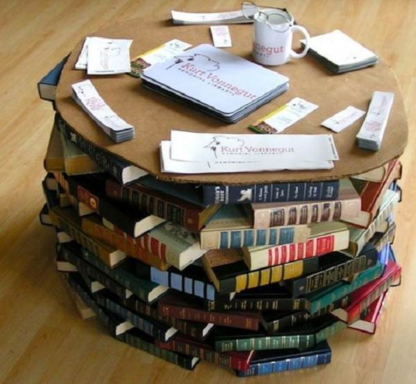 Coffee table made from old books