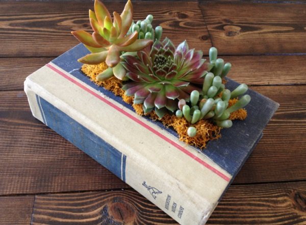 Planter made from old books