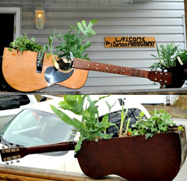 Old Guitar Turned Into a Plant Holder
