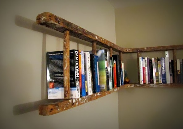 Old Wooden Ladder Used to Make a Bookshelf