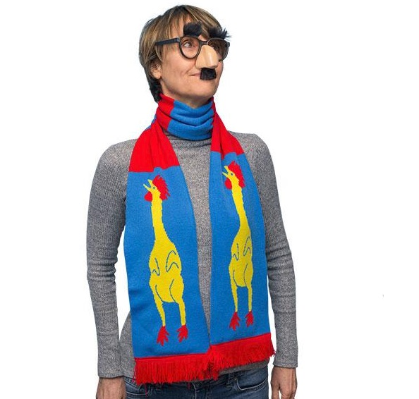 """71"""" Soft-knit Acrylic Rubber Chicken Scarf"""