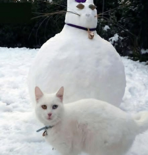 Cat Next to Cat Snow Sculpture