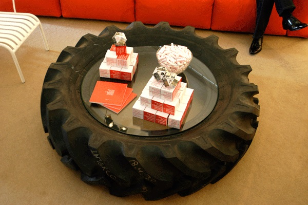 Coffee Table Made From an Old Tractor Tyre