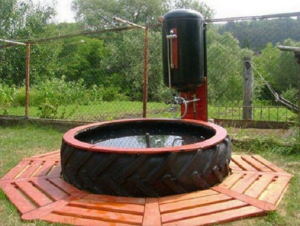 Outdoor Shower Made From an Old Tractor Tyre