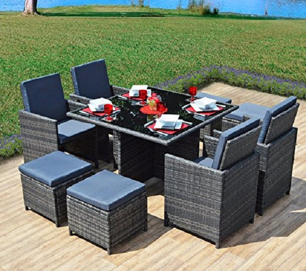 9 Piece Space-saver Rattan Garden Furniture Set