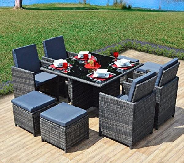 9 Piece Space-saver Rattan Garden Furniture Set