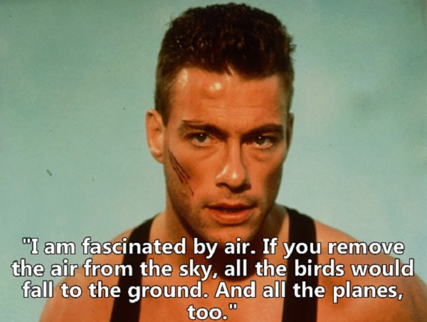 Jean-claude Van Damme Quote - I am fascinated by air. If you remove the air from the sky, all the birds would fall to the ground. And all the planes, too.