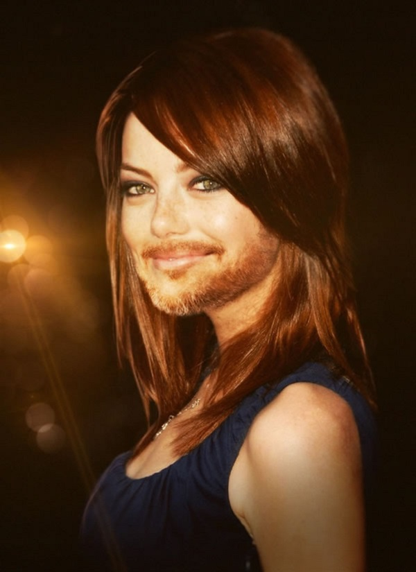 Emma Stone with a Beard