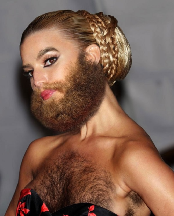 Jessica Simpson with a Beard