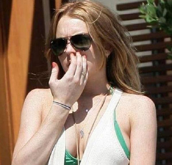 Lindsay Lohan Picking Her Nose