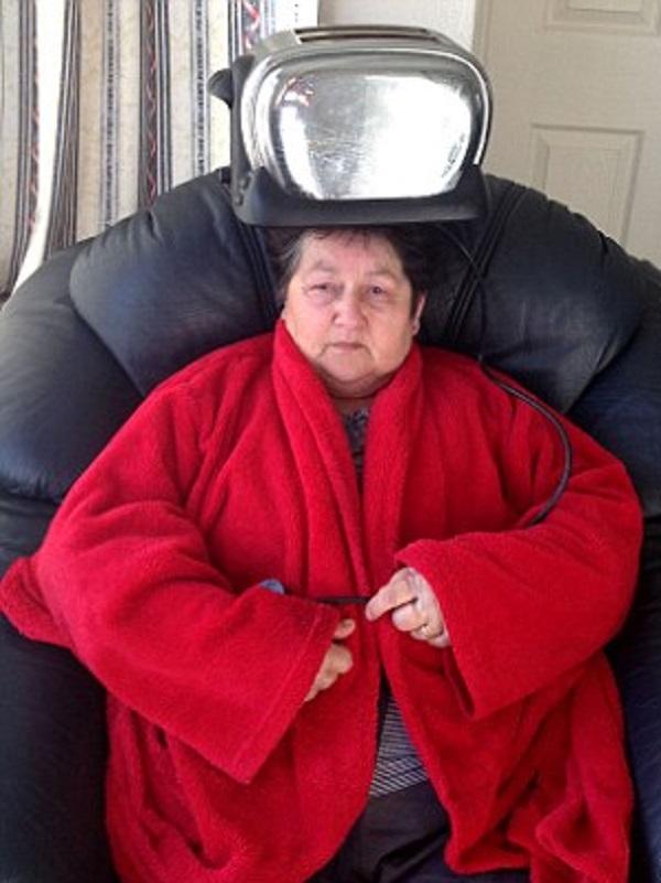 Toaster on Nan's Head